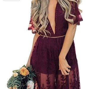 Lace overlay romper dress